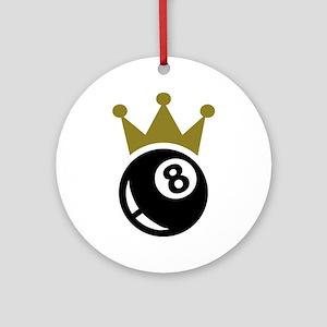 Eight ball billiards crown Ornament (Round)