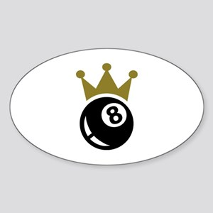 Eight ball billiards crown Sticker (Oval)