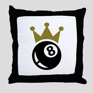 Eight ball billiards crown Throw Pillow