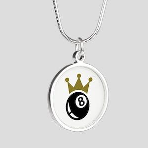 Eight ball billiards crown Silver Round Necklace