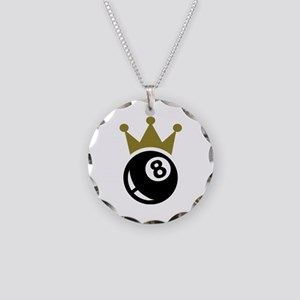 Eight ball billiards crown Necklace Circle Charm