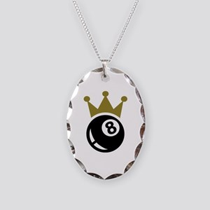 Eight ball billiards crown Necklace Oval Charm