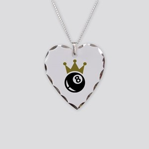 Eight ball billiards crown Necklace Heart Charm