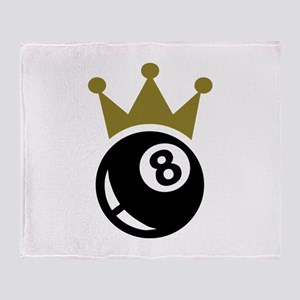 Eight ball billiards crown Throw Blanket