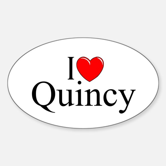 """I Love Quincy"" Oval Decal"