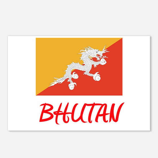 Bhutan Flag Artistic Red Postcards (Package of 8)
