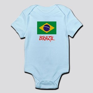Brazil Flag Artistic Red Design Body Suit