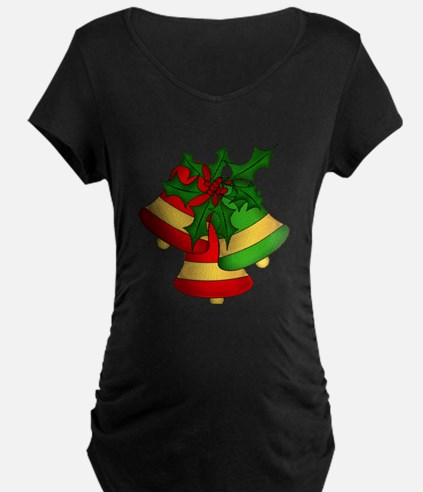Christmas Bells and Holly Maternity T-Shirt
