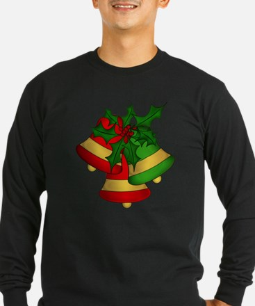 Christmas Bells and Holly Long Sleeve T-Shirt