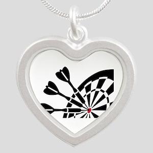 Darts dartboard Silver Heart Necklace