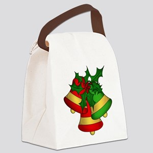 Christmas Bells and Holly Canvas Lunch Bag