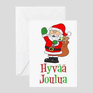Hyvaa Joulua Santa Card Greeting Cards