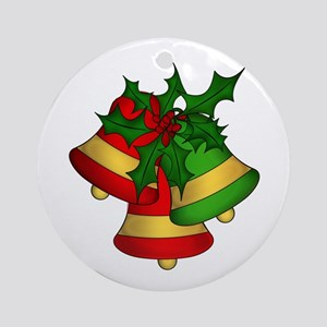 Christmas Bells and Holly Ornament (Round)