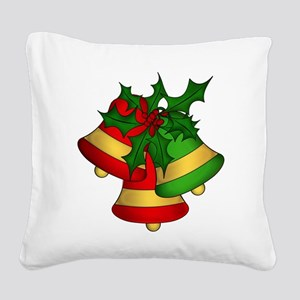 Christmas Bells and Holly Square Canvas Pillow