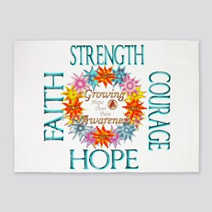 Faith Strength Courage CRPS RSD Awa 5'x7'Area Rug