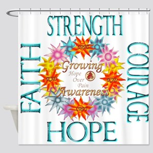 Faith Strength Courage CRPS RSD Awa Shower Curtain