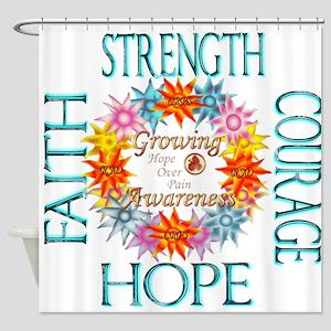 Faith Strength Courage CRPS RSD Awa Shower Curtain