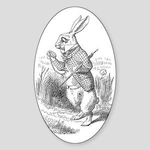 White Rabbit Oval Sticker