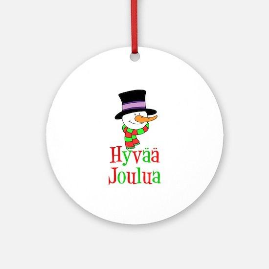 Hyvaa Joulua Snowman Ornament (round)