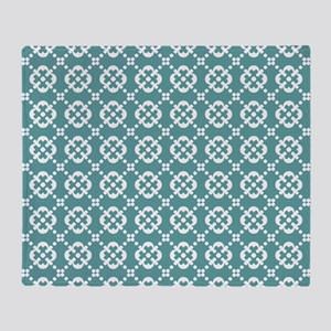 Cadet Blue and White Quatrefoil Dots Throw Blanket