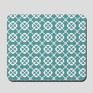 Cadet Blue and White Quatrefoil Dots Mousepad