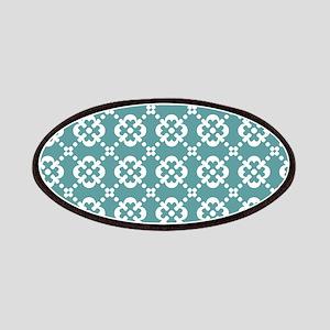 Cadet Blue and White Quatrefoil Dots Patches