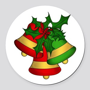 Christmas Bells and Holly Round Car Magnet