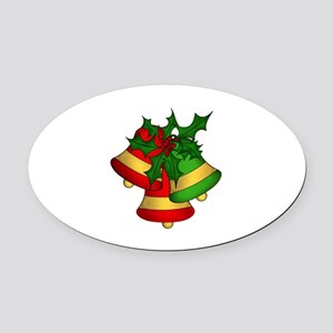 Christmas Bells and Holly Oval Car Magnet