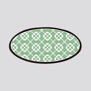 Sark Sea Green and White Quatrefoil Dots Patches