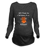 Christmas Kitten Long Sleeve Maternity T-Shirt