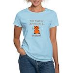 Christmas Kitten Women's Light T-Shirt