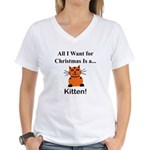 Christmas Kitten Women's V-Neck T-Shirt