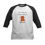 Christmas Kitten Kids Baseball Jersey
