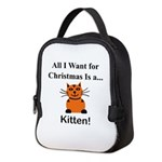 Christmas Kitten Neoprene Lunch Bag