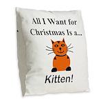 Christmas Kitten Burlap Throw Pillow