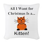 Christmas Kitten Woven Throw Pillow