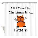 Christmas Kitten Shower Curtain