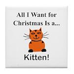 Christmas Kitten Tile Coaster