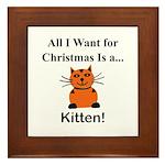 Christmas Kitten Framed Tile