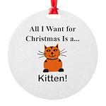 Christmas Kitten Round Ornament