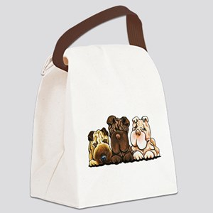 3 Chinese Shar Pei Canvas Lunch Bag