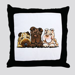3 Chinese Shar Pei Throw Pillow
