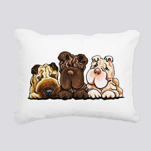 3 Chinese Shar Pei Rectangular Canvas Pillow
