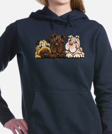 3 Chinese Shar Pei Women's Hooded Sweatshirt