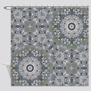 grey GEOMETRIC PATTERN Shower Curtain