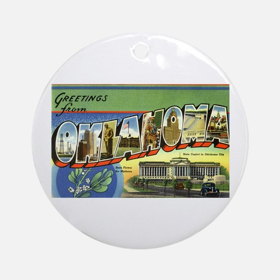 Greetings from Oklahoma Ornament (Round)