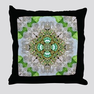 green  diamond bling  Throw Pillow