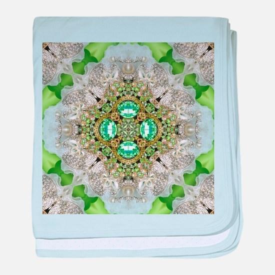 green diamond bling baby blanket
