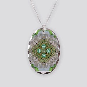 green diamond bling Necklace Oval Charm