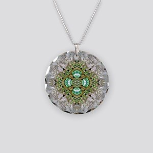 green diamond bling Necklace Circle Charm